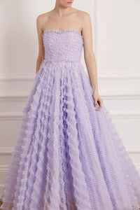 Florence Gingham Corset Gown - Purple