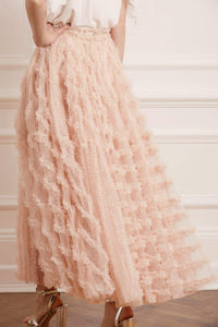 Florence Ruffle Ankle Skirt - Pink