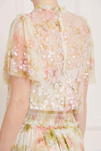 Harlequin Rose Honesty Sequin Top - White