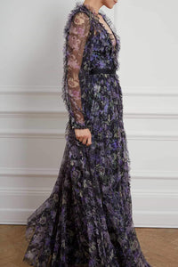 Lilacs Garland V-Neck Gown