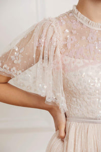 Patchwork Sequin Bodice Round Neck Ballerina Dress