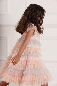 Petra Ruffle Kids Dress - Rainbow