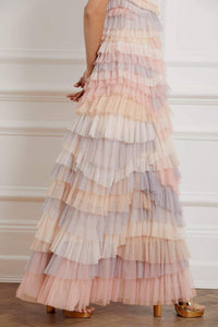 Petra Ruffle Short Sleeve Gown