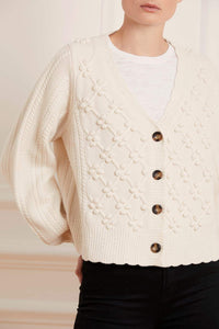 Rose Bobble Stitch Short Cardigan - Cream