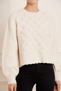 Rose Bobble Stitch Short Jumper - Cream
