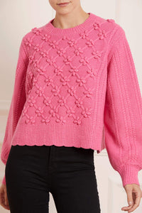 Rose Bobble Stitch Short Jumper - Dark Pink