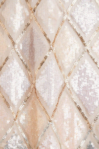 Sequin Diamond Mini Dress - Beige