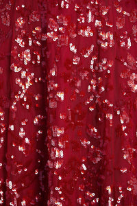 Sequin Ribbon Ballerina Dress - Red