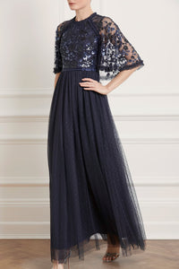 Sequin Ribbon Bodice Maxi Dress