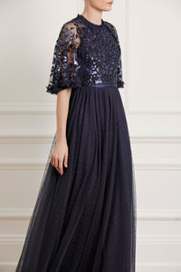 Sequin Ribbon Bodice Maxi Dress - Blue