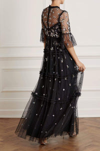 Shimmer Ditsy Long Sleeve Gown
