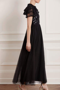Shirley Ribbon Bodice Ankle Maxi Dress - Black
