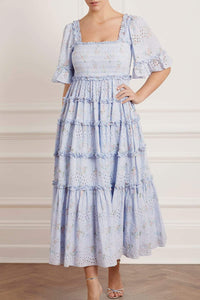 Spray Blossom Smocked Ankle Gown - Blue