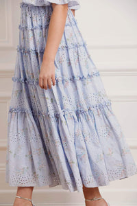 Spray Blossom Smocked Ankle Gown