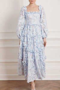 Summer Blossom Ankle Gown - Blue