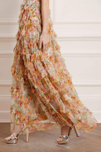 Sunset Garden V-Neck Gown