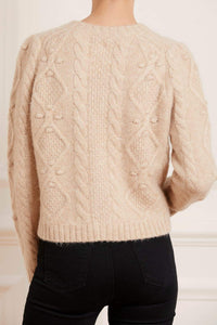 Sylvie Cable Short Cardigan - Beige