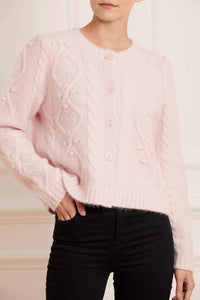 Sylvie Cable Short Cardigan - Pink