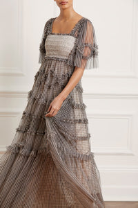 Sylvie Stripe Smocked Gown