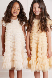Wild Rose Ruffle Kids Dress - Beige