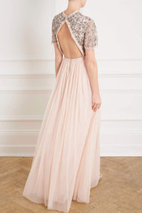 Andromeda Cap Sleeve Backless Gown