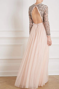 Andromeda Long Sleeve Backless Gown