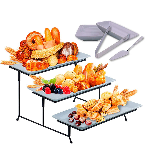 3 Tier Serving Tray Stand - Rectangular Dessert Party Platter with Extra Sauce Dishes Cake Server and Serving Tongs