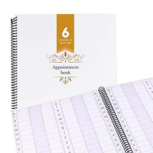 Undated Appointment Book Schedule Reservation - 6 Columns 200 Page Appt Book Organizer with Pen Holder - Hourly Weekly Planner Daily Scheduler for Salon Hairdresser Restaurant Spa Stylist