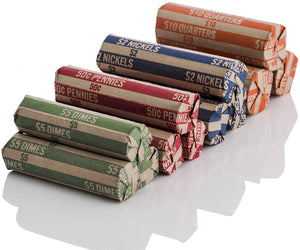 J Mark 100 Count Assorted Flat Coin Roll Wrappers, MADE IN USA, 25 Each of Quarter, Penny, Nickel and Dime Rollers and J Mark Coin Deposit Slip