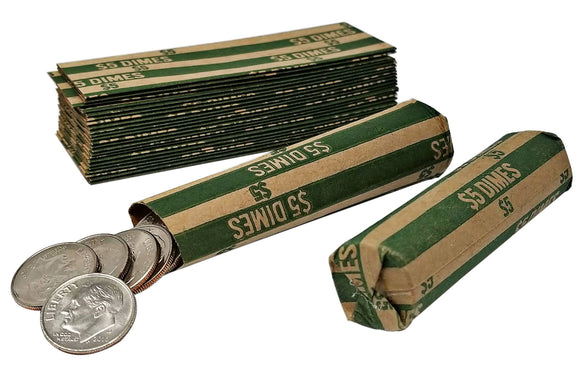 J Mark 100 Dime Coin Roll Wrappers , MADE IN USA, J Mark Coin Deposit Slip, Flat Coin Rollers