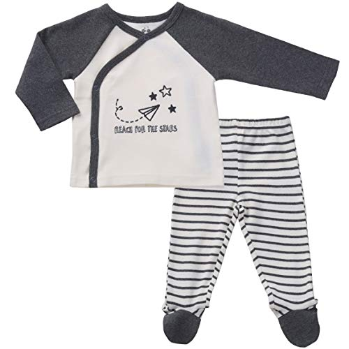 Asher & Olivia Footed Pants Long Sleeve Kimono Shirt 2 Pc Unisex Baby Layette