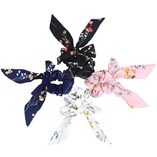 Hair Scarf Silk Scrunchies Ponytail - (4 Pack) SOLID DREAM FLOWERS Hair Ties (Black, Blue, Pink, White) Designs to match Different Outfits – Satin Silk Hair Bands for Women Teen Tween Hair Scarves Tie