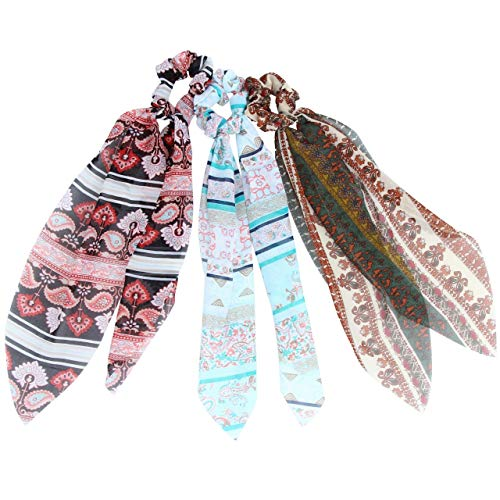 Hair Scarf Silk Scrunchies Ponytail - (3 Pack) DREAM PATTERNS Unique Hair Ties Designs to match Different Outfits – Satin Silk Hair Bands for Women Teen Tween Hair Scarves Tie