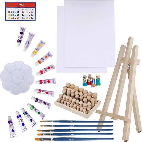 Art Canvas Paint Set Supplies – 63 Piece Paint Kit Canvas Acrylic Painting Kit with Wood Easel & Peg dolls, 8x10 inch Canvases, 12 Non Toxic Washable Paints, 5 Brushes, Palette and Color Mixing Guide