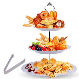 3 Tier Serving Tray Stand – Round Cupcake Dessert Party Platter with BONUS Serving Metal Tongs