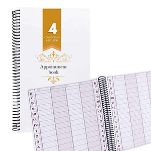 Undated Appointment Book Schedule Reservation -4 Columns 200 Page Appt Book Organizer with Pen Holder - Hourly Weekly Planner Daily Scheduler for Salon Hairdresser Restaurant Spa Stylist