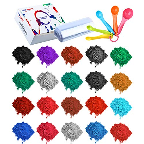 Bath Bomb Soap Making Supplies - 24 Pack Mica Pigment Powder Dye, 100 Shrink Wrap Bags, 5 Colored Measuring Spoons Kit for DIY Crafts Slime Soap Bath Bomb Resin (10 Gram)