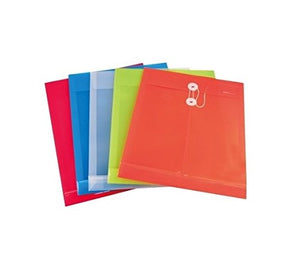 GlobalDeli Filing Envelopes. Pack of 10, Assorted Colors, A4 Size. Poly envelopes with String Closure and Expandable Gusset.