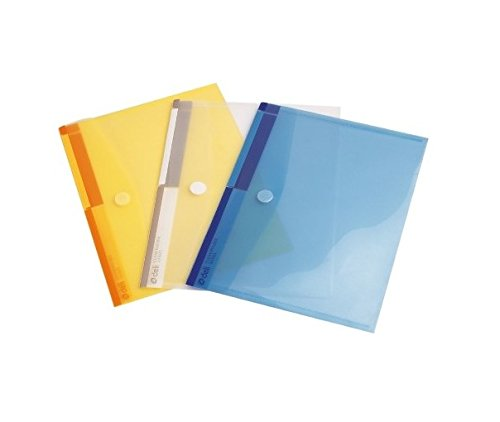 GlobalDeli Poly envelopes, Homework and School Folder. A4 size Plastic Document Folders with Velcro Closure. (Pack of 12, Multicolor)