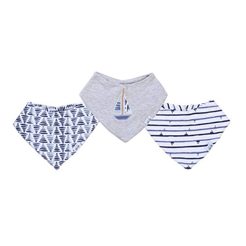 Asher and Olivia Baby Boy's 3-Piece Bandana Bib Set – Fits 3 to 24 Months Heather Gray