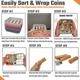 Coin Sorters Tray & Coin Counters – 5 Color-Coded Coin Sorting Tray Bundled with 110 Assorted Flat Coin Roll Wrappers for US Coins