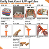 Coin Counters Tubes & Coin Sorters Tray – 5 Color-Coded Coin Sorting Tray and 5 Coin Counting Tubes - Bundle with 110-Count Assorted Coin Roll Wrappers for US Coins