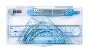 GlobalDeli- 5 Pcs Geometry Set, This Math Kit Includes Compass, Divider,Squares Set, Ruler, Protractor, Plus Hard Carrying Case