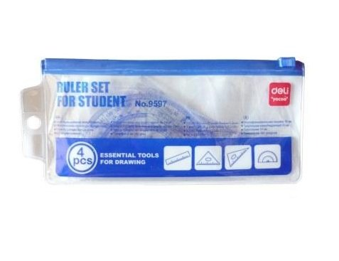 GlobalDeli Premium 4 Pcs Ruler Math Set. Pack of 1 Drafting and Geometry Set. Clear Blue Color School Set.