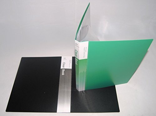 GlobalDeli Premum Presentation Book, Pack of 2 Booklet Binder. Black and Green Color Binder Sleeves. Size 20 Sleeves Portfolio Folder.