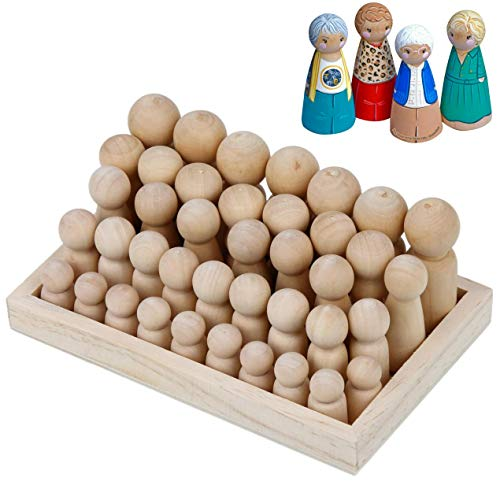 Wooden Peg Dolls Unfinished People – Pack of 40 with Storage Case in Assorted Sizes - Natural Wood Shapes Figures, Decorative Doll Bodies for DIY Arts and Crafts