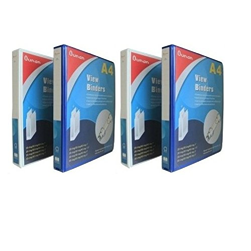 GlobalDeli Heavy Duty Office supplies binders, Size 1 Inch, a 3 D Ring Binder Set. Large 4 Pack View Binders, White and Blue