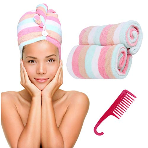 Microfiber Hair Towel Turban Wrap – 2 Pc Head Wraps for Women Bundled with Comb for Women Anti-Frizz Absorbent Twist Drying Shower Towel Hat Works Like Magic Quick Dry
