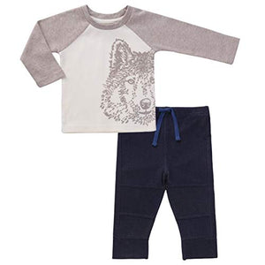 Asher & Olivia Baby Boy Outfits Long-Sleeve Shirts and Harem Pants Clothes Set - Charcoal Heater Gray