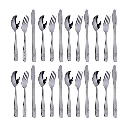 Stainless Steel Kids Silverware Set – 24-Piece Toddler Utensils with 8 Forks, 8 Spoons and 8 Kid-Friendly Knives - Flatware Metal Cutlery Set for Preschooler Baby Child Toddler Self Feeding Dishwasher